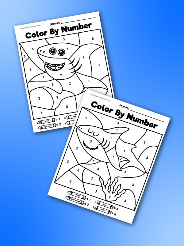 shark color by number printables