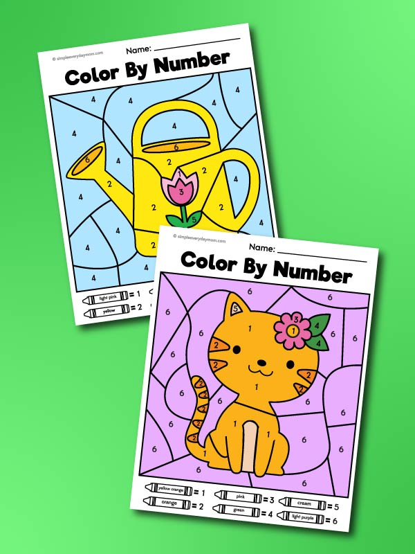 spring color by number printables
