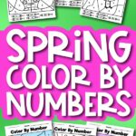 spring color by number printables withe the words spring color by numbers in the middle