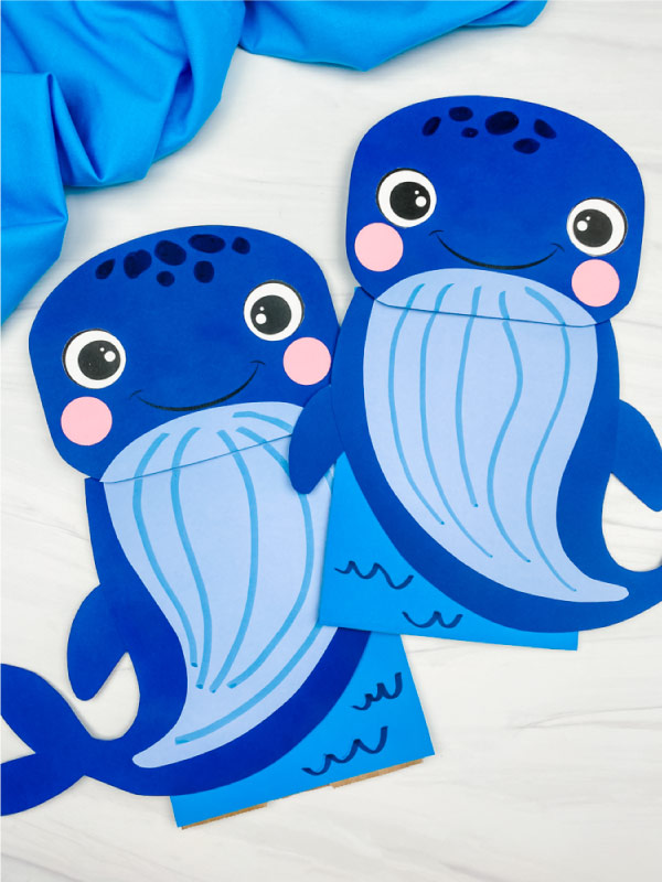 2 paper bag whale crafts