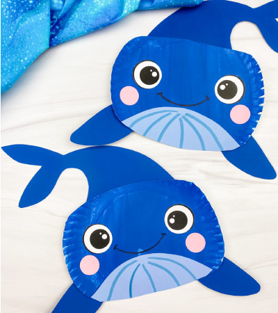 2 paper plate whale crafts
