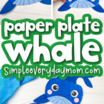 paper plate whale craft image collage with the words paper plate whale in the middle