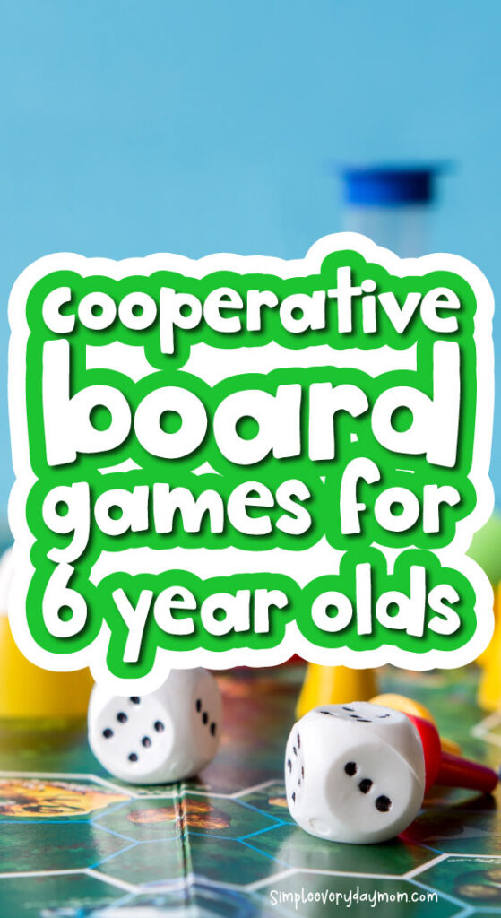board game background with the words cooperative board games for 6 year olds in the middle