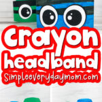 crayon headband craft image collage with the words crayon headband in the middle