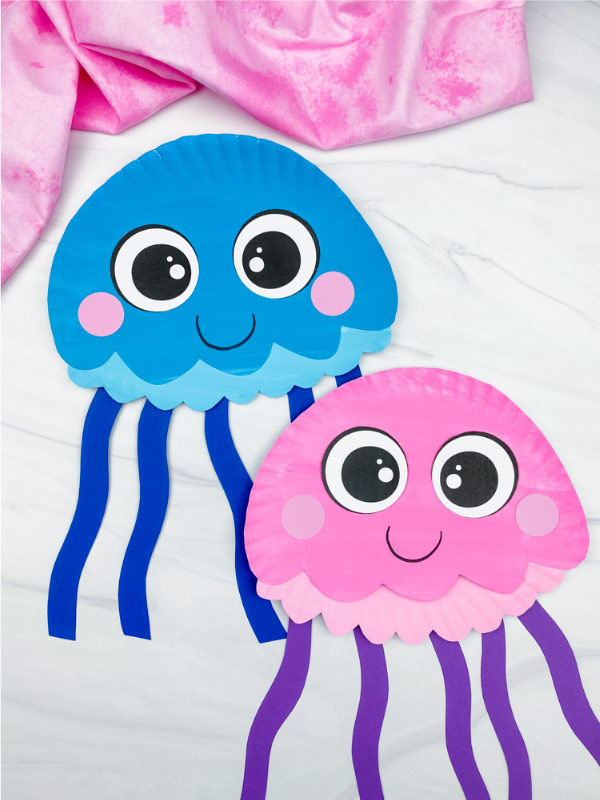 two paper plate jellyfish