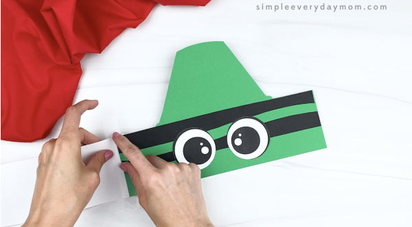 hand taping extenders to crayon headband craft