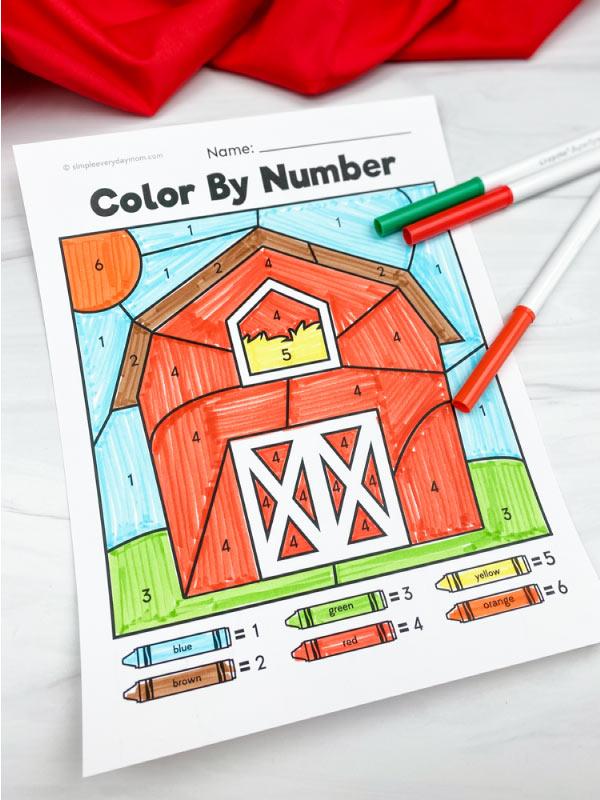 barn color by number worksheet