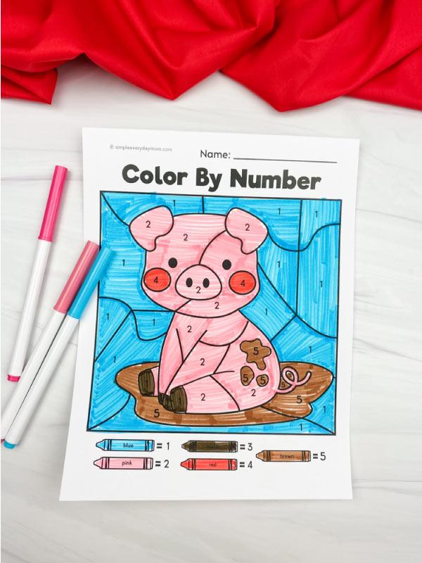 pig color by number worksheet