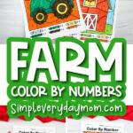 farm color by number image collage with the words farm color by numbers in the middle