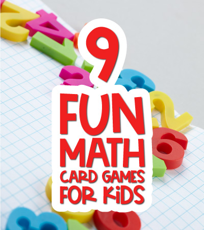 number background with the words 9 fun math card games with kids