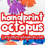 handprint octopus image collage with the words handprint octopus in the middle