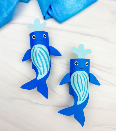 2 toilet paper roll humpback whale crafts