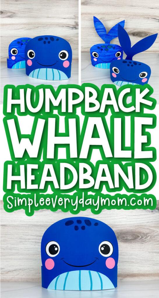 humpback whale headband craft image collage with the words humpback whale headband in the middle