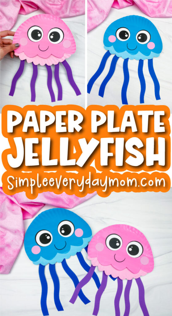 paper plate jellyfish image collage with the words paper plate jellyfish in the middle