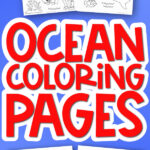ocean coloring pages mockup with the words ocean coloring pages in the middle