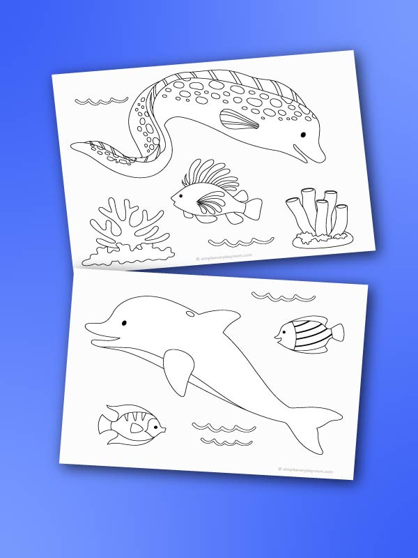 ocean coloring pages mockup on blue background