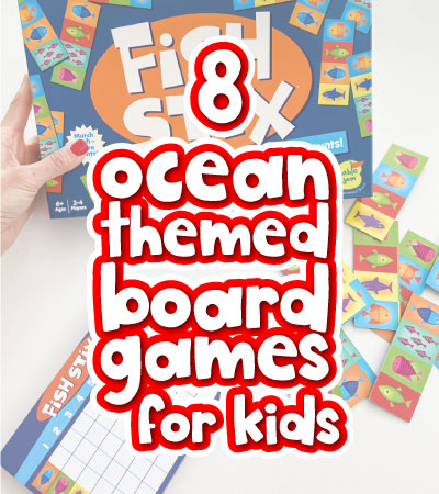 ocean board game with the words 8 ocean themed board games for kids in the middle
