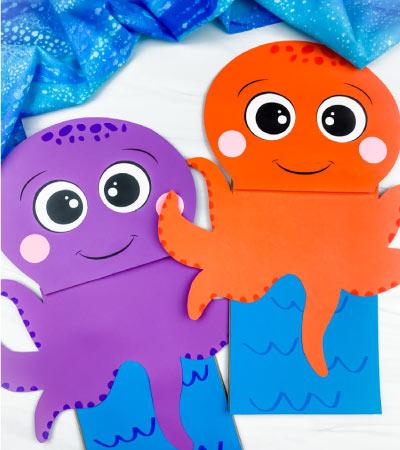 2 paper bag octopus crafts