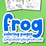 frog coloring pages mockup with the words frog coloring pages in the middle