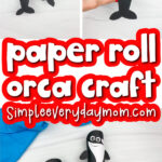 toilet paper roll killer whale craft image collage with the words paper roll orca craft in the middle