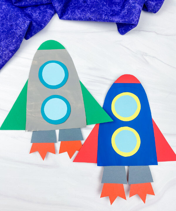 2 paper plate rocket crafts
