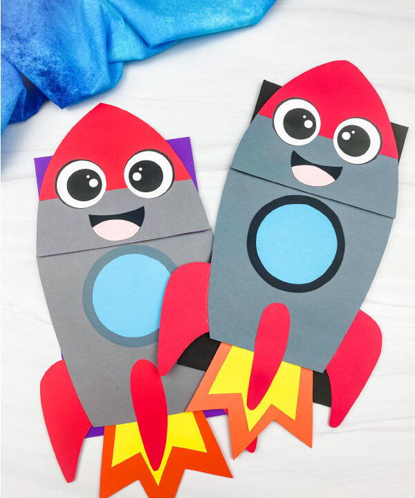 2 rocket puppet crafts
