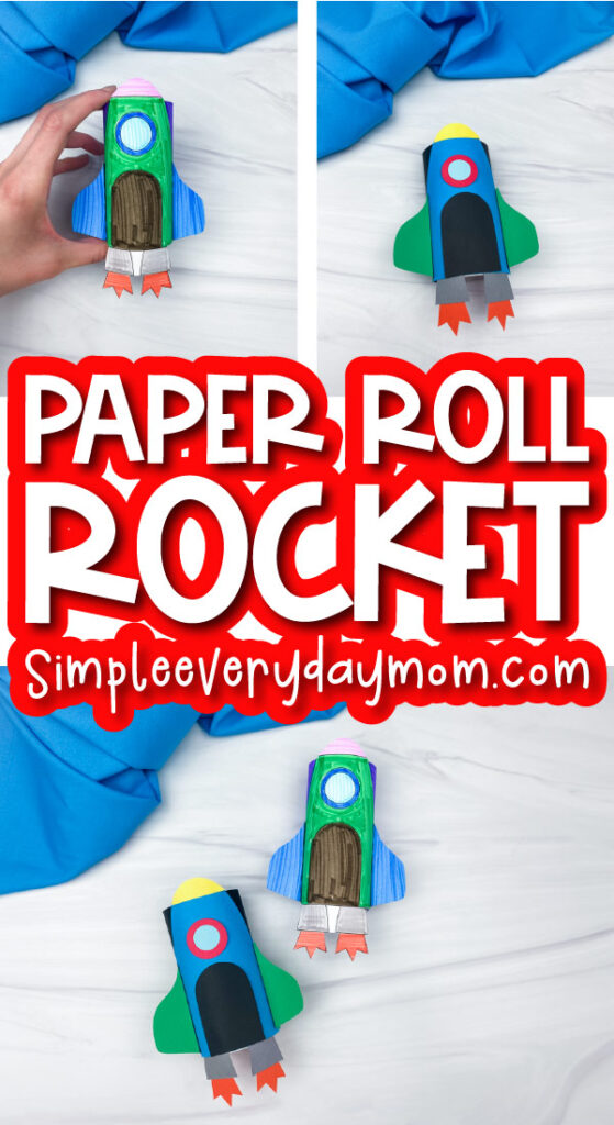 paper roll rocket craft image collage with the words tp roll rocket in the middle