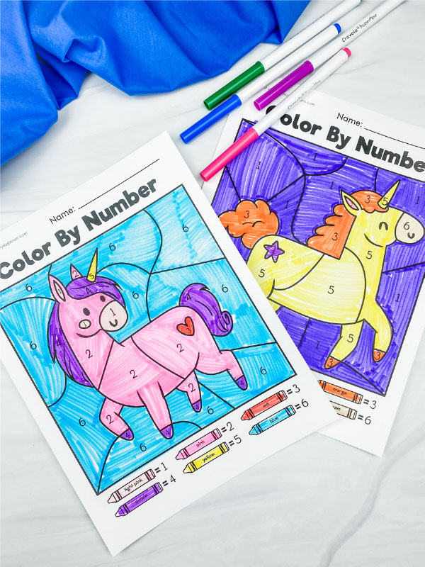 unicorn color by number worksheets