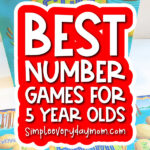 math board game with the words best number games for 5 year olds