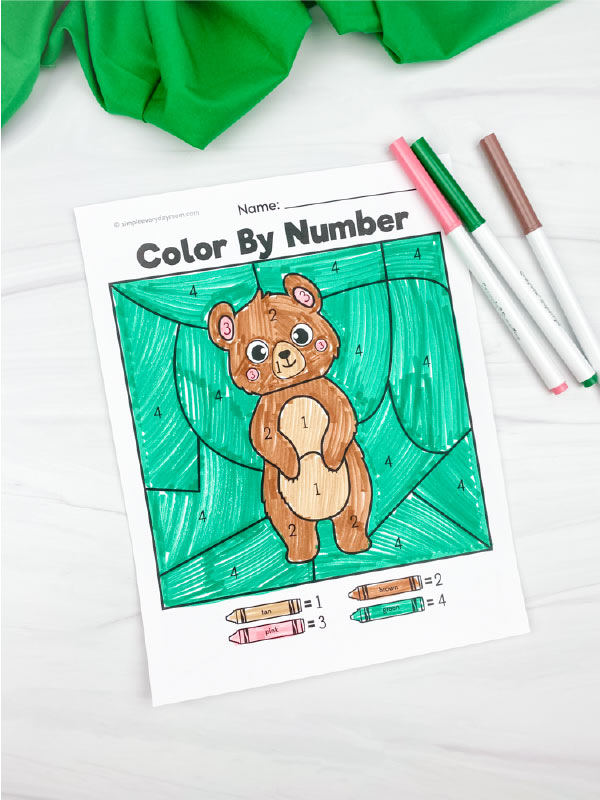 bear color by number printable