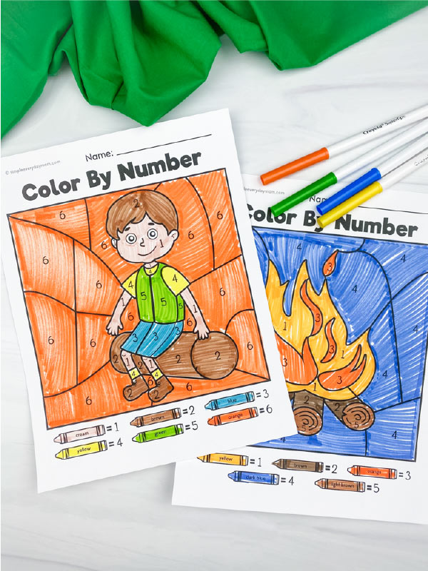 camping color by number printables