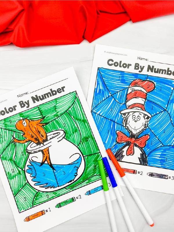 Cat in the Hat color by number printables