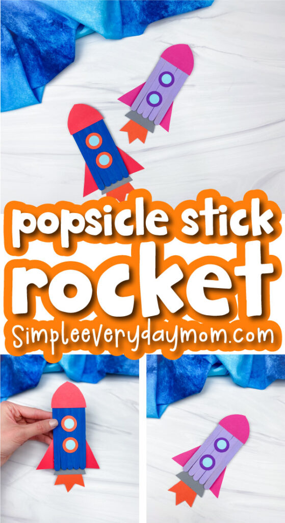 popsicle stick rocket craft image collage with the words popsicle stick rocket in the middle