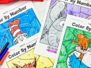 Dr. Seuss color by number printables
