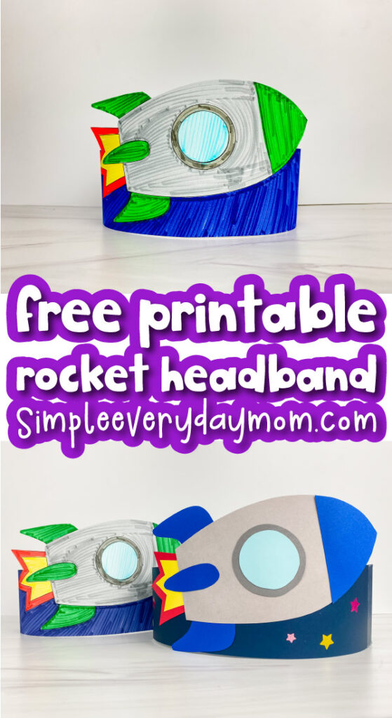 rocket headband craft image collage with the words free printable rocket headband in the middle