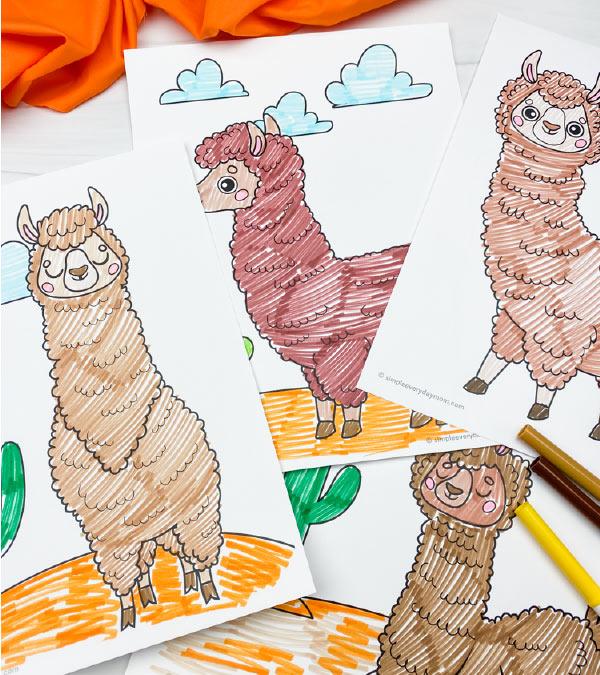 llama coloring pages