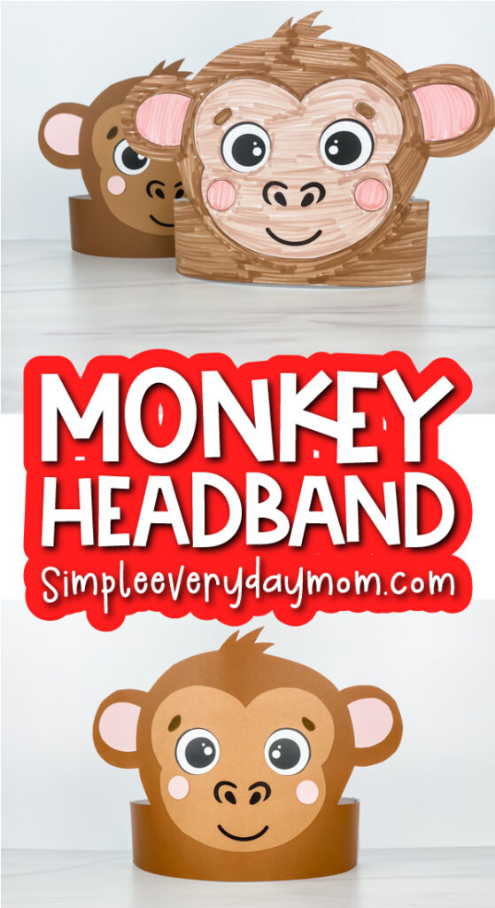 monkey headband craft image collage with the words monkey headband in the middle