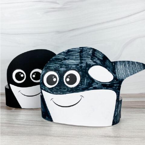 2 killer whale headband crafts
