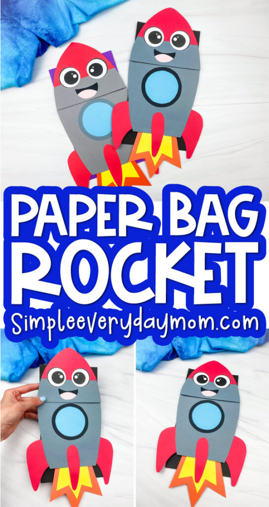 rocket puppet craft image collage with the words paper bag rocket in the middle