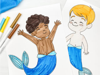 boy mermaid coloring pages