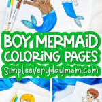 boy mermaid coloring page collage with the words boy mermaid coloring pages in the middle
