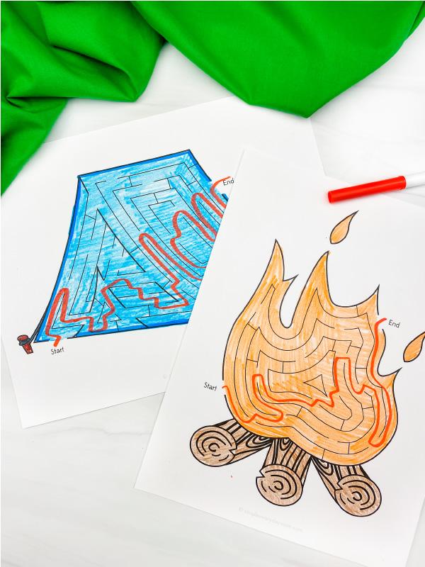 camping maze printables