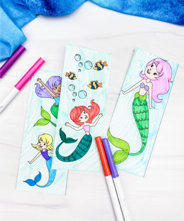 coloring page mermaid bookmarks