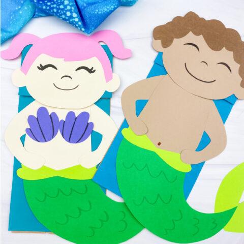 boy and girl paper bag mermaid craft