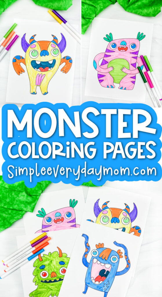 monster coloring pages image collage with the words monster coloring pages in the middle