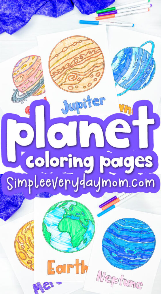 planet coloring page image collage with the words planet coloring pages in the middle