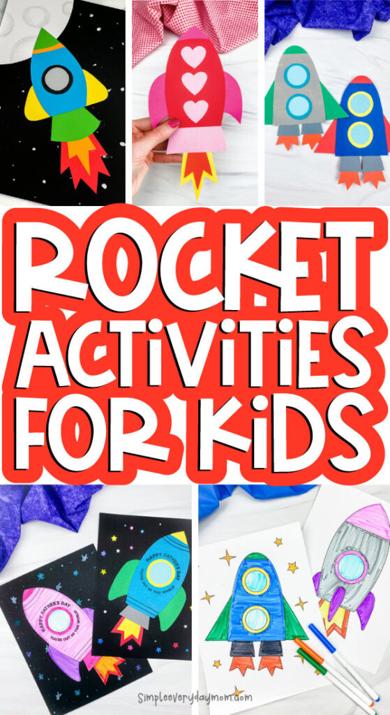 rocket activities for kids image collage with the words rocket activities for kids in the middle
