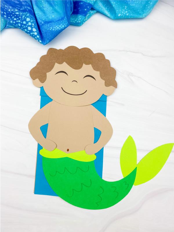 boy mermaid paper bag craft