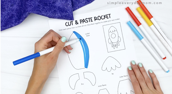 hand coloring in cut and paste rocket pieces