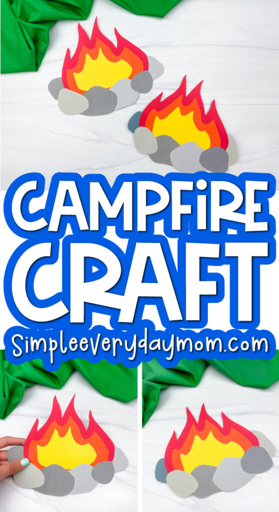 paper campfire craft image collage with the words campfire craft in the middle
